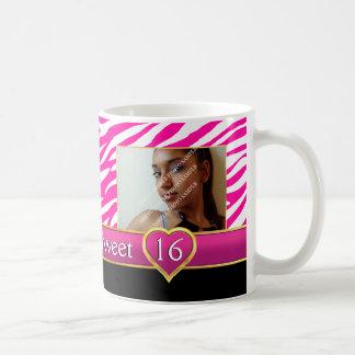 Hot pink zebra print glam Sweet Sixteen birthday Coffee Mug