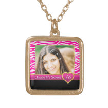 Hot pink zebra print glam Sweet Sixteen birthday Gold Finish Necklace