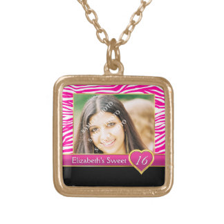 Hot pink zebra print glam Sweet Sixteen birthday Gold Plated Necklace
