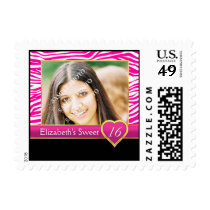 Hot pink zebra print glam Sweet Sixteen birthday Postage