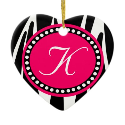 Hot Pink Zebra Print Heart Christmas Ornament by csinvitations