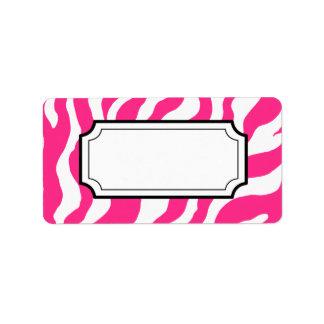 Hot Pink Zebra Print Label