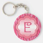 Hot Pink Zebra Print Monogram E Basic Round Button Keychain