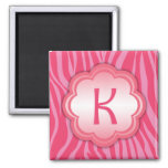 Hot Pink Zebra Print Monogram K Magnets