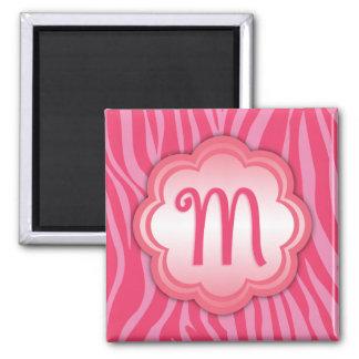 Hot Pink Zebra Print Monogram M Magnet