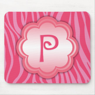 Hot Pink Zebra Print Monogram P Mouse Pad