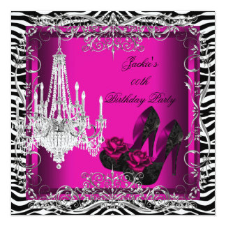 Hot Pink Zebra Print Party Birthday Shoes Card