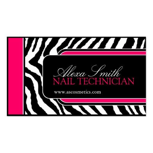 Hot Pink Zebra Print Salon Business Cards