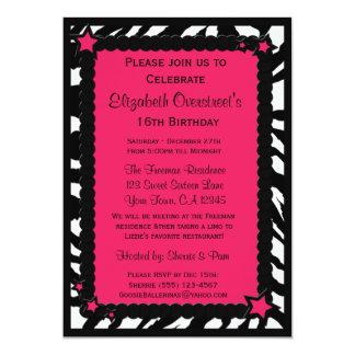 Hot Pink Zebra Print Stars Custom Birthday Party I Card