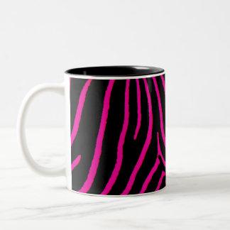 Hot Pink Zebra Print Two-Tone Coffee Mug