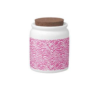 Hot Pink Zebra Print Wild Animal Stripes Novelty Candy Dishes