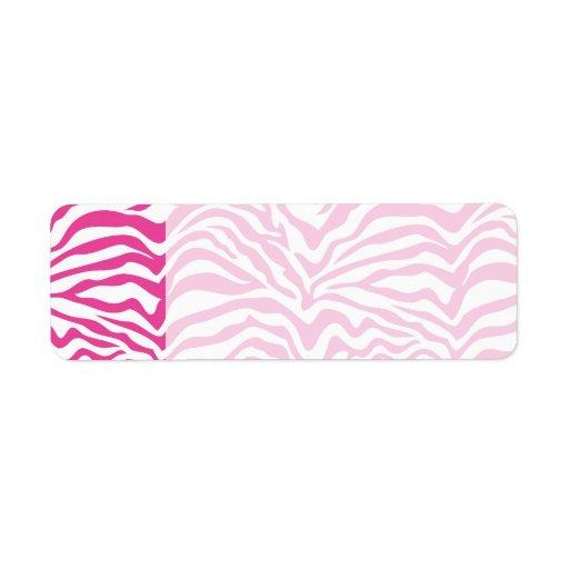 Hot Pink Zebra Print Wild Animal Stripes Novelty Return Address Label