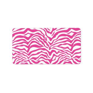 Hot Pink Zebra Print Wild Animal Stripes Novelty Address Label