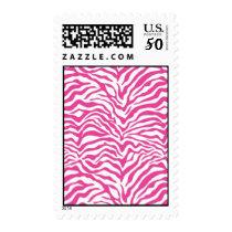 Hot Pink Zebra Print Wild Animal Stripes Novelty Postage