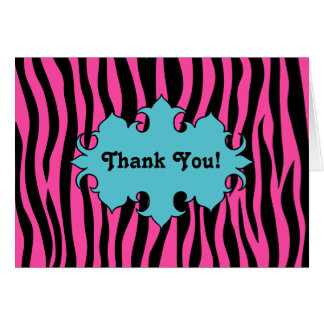 Hot pink zebra print with blue banner thank you card
