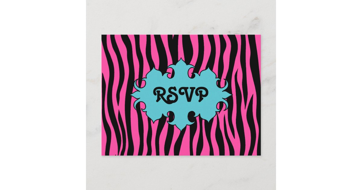 Hot Pink Zebra Print With Blue Banner Wedding RSVP Invitation Postcard