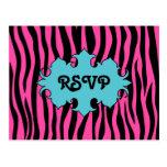 Hot pink zebra print with blue banner wedding RSVP Postcard