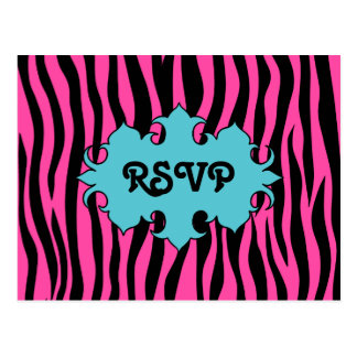 Hot pink zebra print with blue banner wedding RSVP Postcard