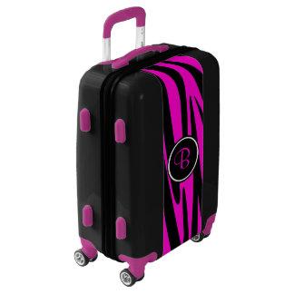 Hot Pink Zebra Print with Monogram Luggage