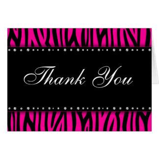 Hot Pink Zebra Printed Diamonds Thank You Greeting Card