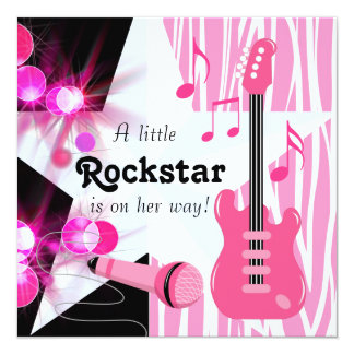 Hot Pink Zebra Rockstar Baby Girl Shower Personalized Invitations