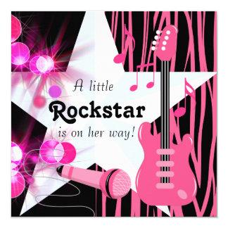 Hot Pink Zebra Rockstar Baby Girl Shower 5.25x5.25 Square Paper Invitation Card