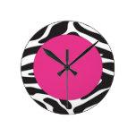 Hot Pink Zebra Round Wall Clock