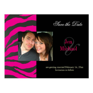 Hot pink zebra Save the Date Photo postcards,