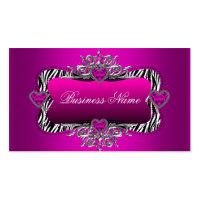 Hot Pink Zebra Silver Diamond Hearts Elegant Business Card