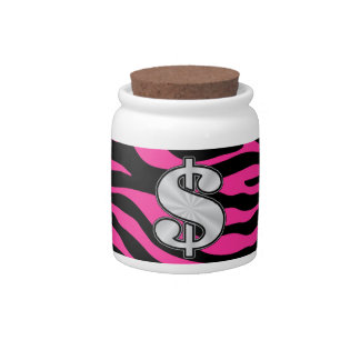 HOT PINK ZEBRA SILVER DOLLAR SIGN CANDY JARS