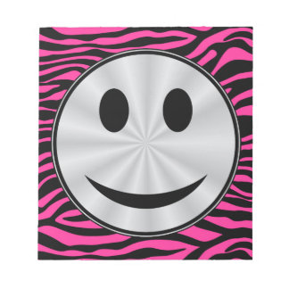 HOT PINK ZEBRA SILVER SMILEY NOTE PAD