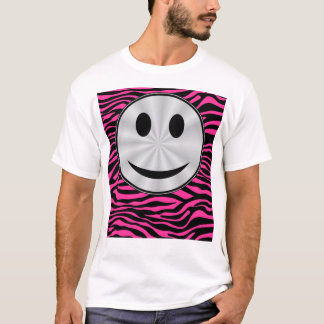 HOT PINK ZEBRA SILVER SMILEY T-Shirt
