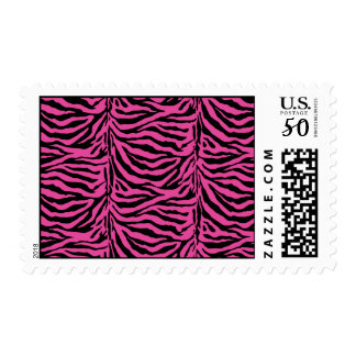 Hot Pink  Zebra Skin Texture Background Postage