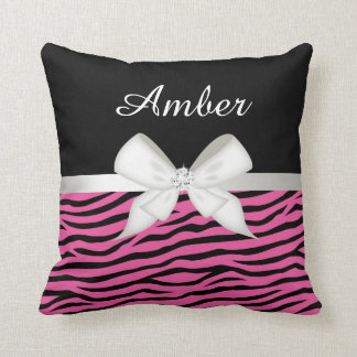 Hot Pink Zebra Stripe and Ribbon Throw Pillow