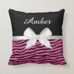 Hot Pink Zebra Stripe and Ribbon Throw Pillows