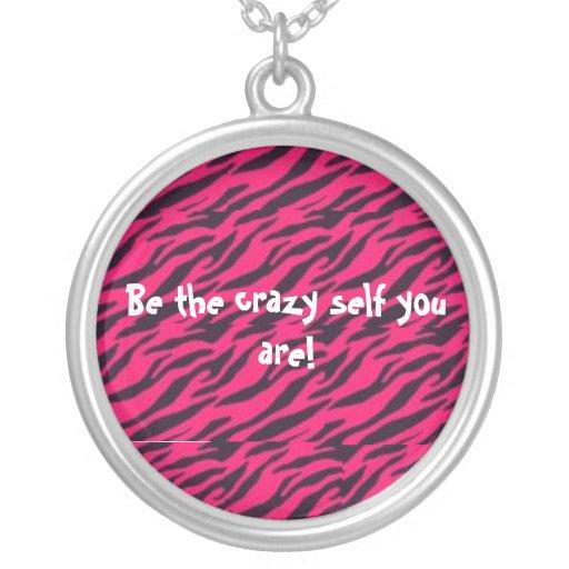 Hot pink zebra stripe necklace