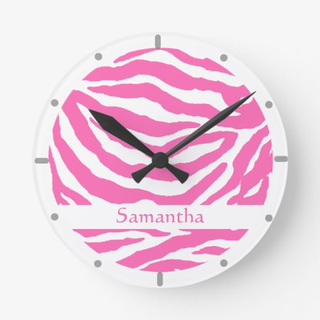Hot Pink Zebra Stripe On Wall Clock