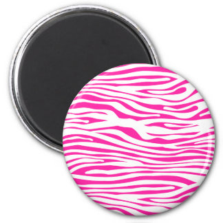 Hot Pink Zebra stripe pattern animal print 2 Inch Round Magnet