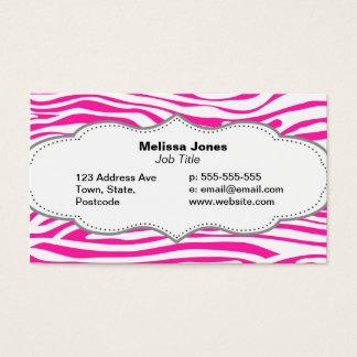 Hot Pink Zebra stripe pattern animal print Business Card
