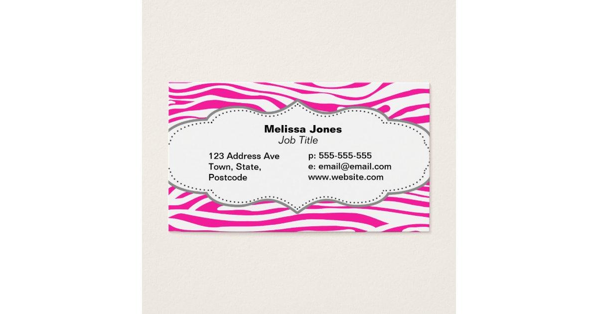 Hot Pink Zebra stripe pattern animal print Business Card   Zazzle.com