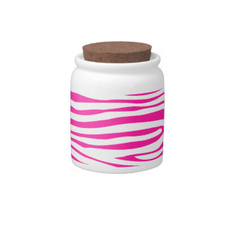 Hot Pink Zebra stripe pattern animal print Candy Dish