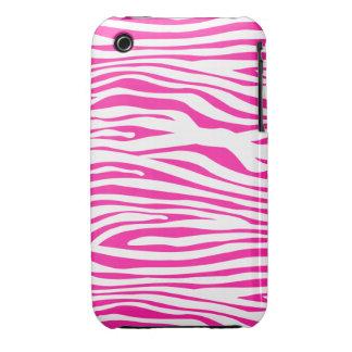 Hot Pink Zebra stripe pattern animal print iPhone 3 Case