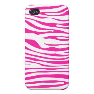 Hot Pink Zebra stripe pattern animal print iPhone 4 Covers