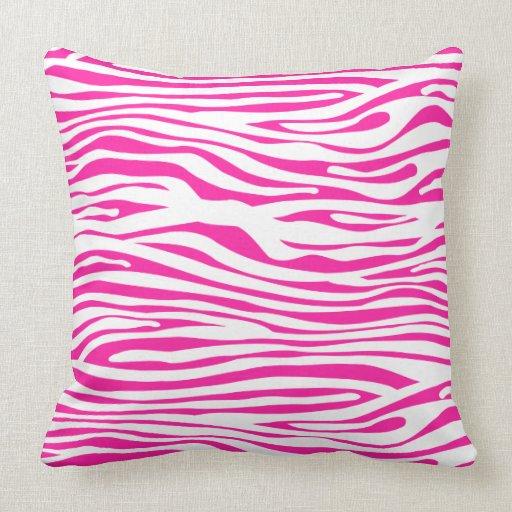 Pink Zebra Print Decorative Pillows : Hot Pink Zebra stripe pattern animal print Throw Pillows Zazzle