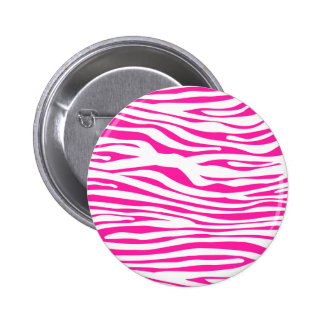 Hot Pink Zebra stripe pattern animal print Pinback Button
