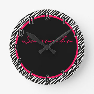 Hot Pink Zebra Stripe Pattern Personalized Clock