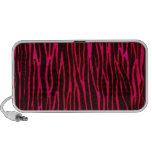 Hot Pink Zebra Stripe Print Mini Speakers