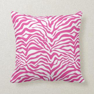 Hot Pink Zebra Stripe Throw Pillow