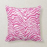 Hot Pink Zebra Stripe Throw Pillows