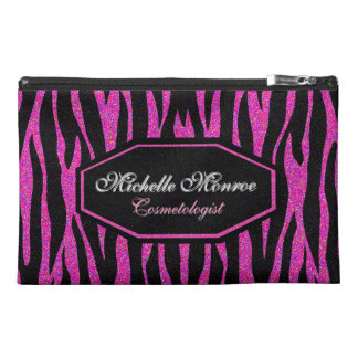 Hot Pink Zebra Striped Travel Accessory Bag